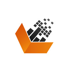 Pixel technology arrow logo in orange black color vector