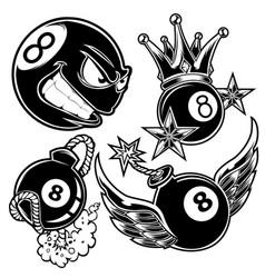 Pool 8 ball billiard wing crown boom vector