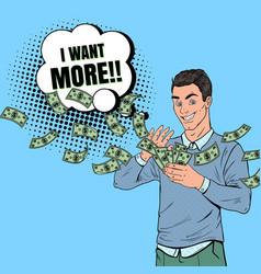 pop art rich man throwing dollar banknotes vector image