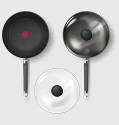 Realistic classic fry pan with glass lid and vector
