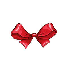 red bow hand drawn isolated vector image
