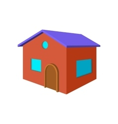 Red small cottage cartoon icon vector image