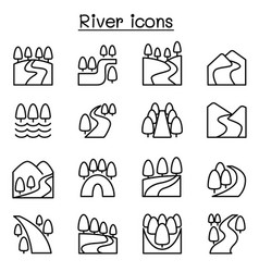 River lake canal icon set in thin line style vector