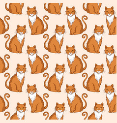seamless pattern design with cute red cats vector image