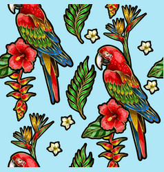 seamless pattern with ara parrot vector image