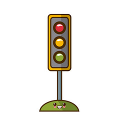 Semaphore traffic lights kawaii cartoon vector