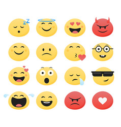 set cute smiley emoticons flat design vector image
