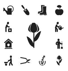 set of 12 editable gardening icons includes vector image