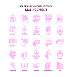 Set of 25 feminish management flat color pink vector