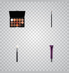 set of cosmetics realistic symbols with eyeshadow vector image