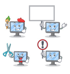 set of monitor character with artist bring board vector image