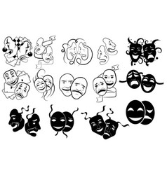 Set tragedy and comedy theater masks vector
