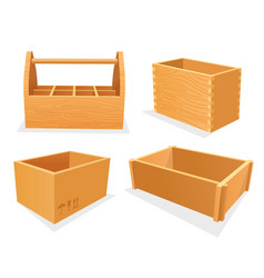 set wooden boxes empty cases or toolbox vector image