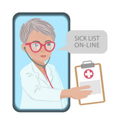 Sick list online coronavirus medicine consultation vector