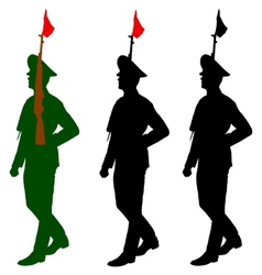 Silhouette soldiers during a military parade vector image