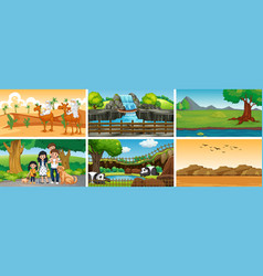 six scenes with people and animals vector image