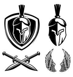 Spartan helmet shield sword wings vector