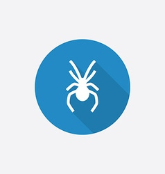 spider Flat Blue Simple Icon with long shadow vector image