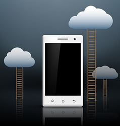 stairs leading to the clouds and white smartphone vector image