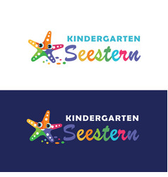 Starfish mascot kindergarten logo vector