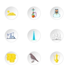 Stay in uae icons set cartoon style vector