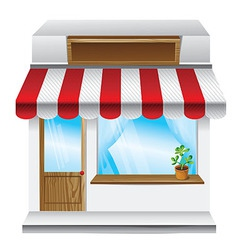 Store with stripe awning vector