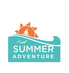 Summer holidays logo with ship and seagulls vector