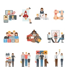 Teamwork flat icons set vector