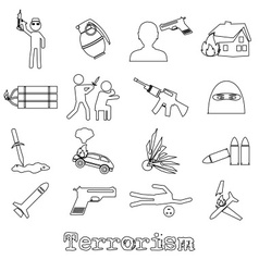 terrorism theme set of simple outline icon eps10 vector image