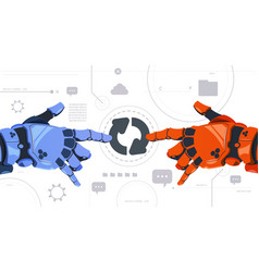 Two robotic hands touch updating button on digital vector