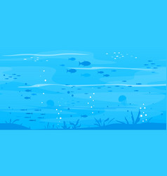 underwater background with fish silhouettes vector image