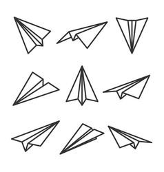 Various hand drawn paper planes black doodle vector