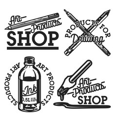 vintage art products shop emblems vector image