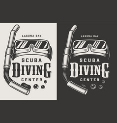 Vintage diving center monochrome logotypes vector