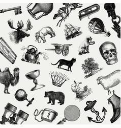 Vintage european objects set vector