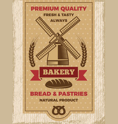vintage poster for bakery shop template vector image