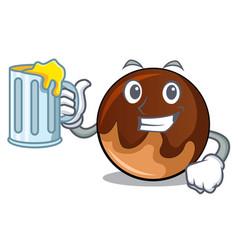 With juice chocolate donut mascot cartoon vector