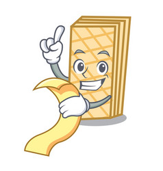 with menu waffle mascot cartoon style vector image
