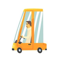 Yellow cartoon car with driver vector