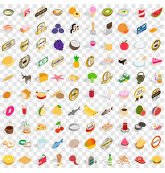 100 bakehouse icons set isometric 3d style vector image vector image