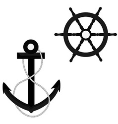 Anchor with rope and wheel vector image