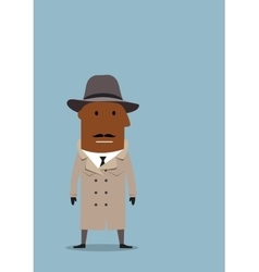 Detective man or spy agent in coat and hat vector image