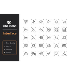 30 interface line icons vector image vector image