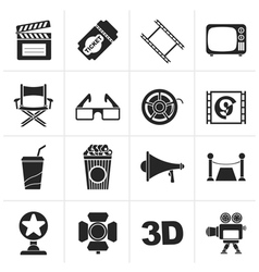 Black Cinema and Movie icons vector image vector image