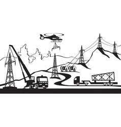 Construction of electric transmission line vector image vector image