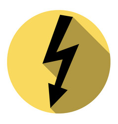 high voltage danger sign flat black icon vector image
