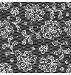 Lace fabric seamless pattern with abstact flowers vector image