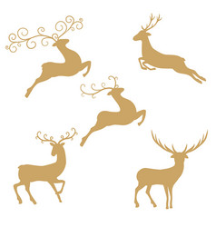 silhouette deer on white background silhouette vector image vector image
