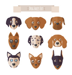 dog faces set in flat style vector image