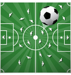 Football Ball on Green Playground Background vector image